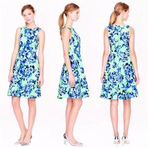 J. Crew Floral A-Line Dress Green & Blue sz 0